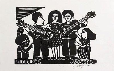 """Xilogravura """"Violeiros"""" M - J. Borges - PE"""