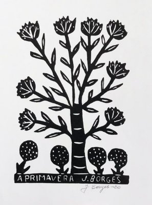 Xilogravura J. Borges A Primavera M - PE