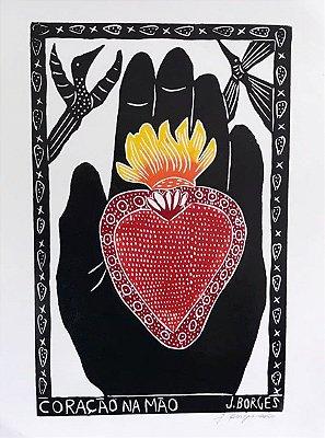 """Xilogravura """"Coração na Mão"""" G - J. Borges - PE"""