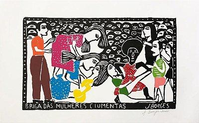 """Xilogravura """"Briga das Mulheres Ciumentas"""" G - J. Borges - PE"""