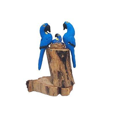 Tronco Com 2 araras azuis- MS