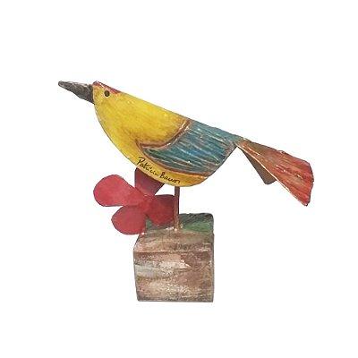 Escultura Pássaro com Flor P - Patrícia Barros PE