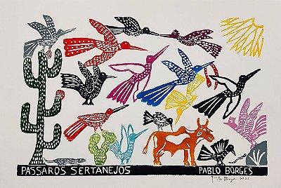 "Xilogravura ""Pássaros Sertanejos"" G - Pablo Borges - PE"