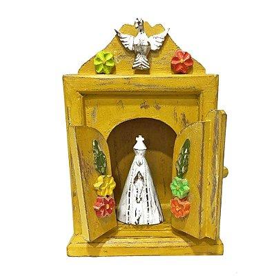 Relicário amarelo Nossa Senhora Aparecida M - MG