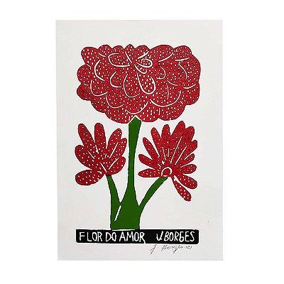 """Xilogravura Coleção """"Flor do Amor"""" P -  J. Borges - PE"""
