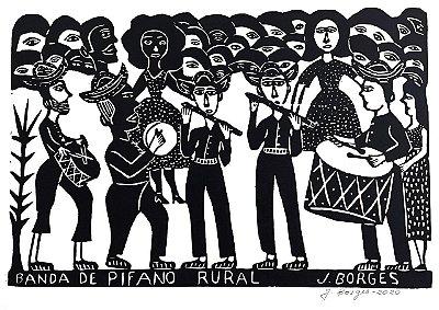 """Xilogravura """"Banda de Pífano Rural"""" G PB - J. Borges - PE"""