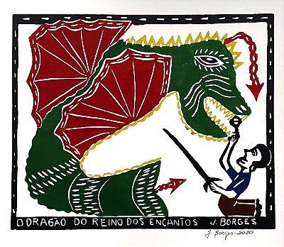 """Xilogravura """"O Dragão do reino dos Encantos"""" G - J. Borges - PE"""