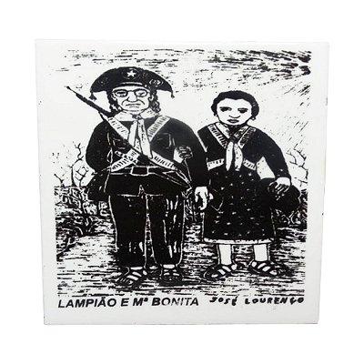 """Azulejo de Xilogravura """"Lampião e Maria Bonita"""" - José Lourenço - Juazeiro do Norte CE"""