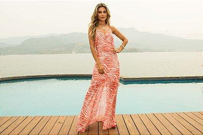 Vestido Longo Coral Print