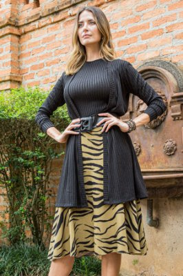 Saia Midi Lovely Animal Print
