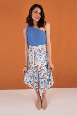 Saia Midi Blue Animal Print