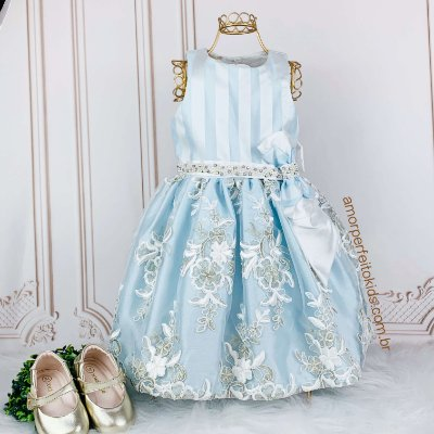 Vestido de festa infantil Petit Cherie Azul Cinderela tam 2