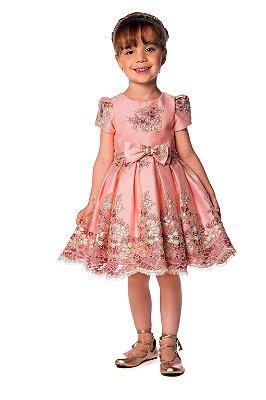 Vestido de Festa Infantil Petit Cherie Princesa Luxo Renda Guipir Rosa e Dourado Tam 03