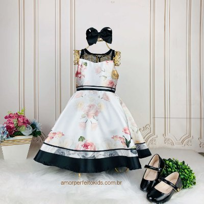 Vestido de festa infantil Petit Cherie floral com transparência off white e preto