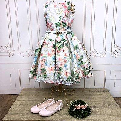 Vestido infantil de festa Petit Cherie floral com decote nas costas off white Tamanho 6