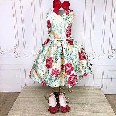 Vestido infantil de festa Petit Cherie max flores e folhagens verde e vermelho