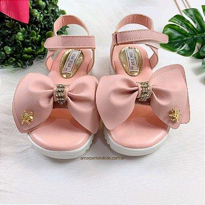 Sandália infantil max laço rosa blush