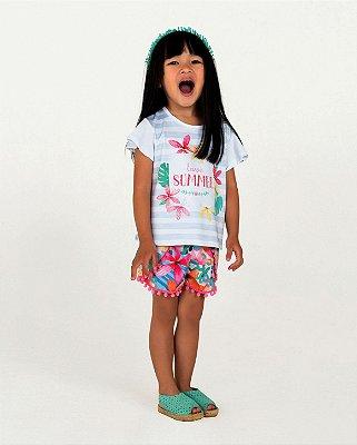 Conjunto infantil Mon Sucré blusa e shorts floral com pompom Tam 3