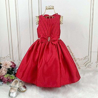 Vestido Infantil de Festa Petit Cherie Vermelho rodado com laço tam 1