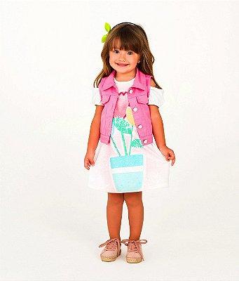 Vestido infantil Mon Sucré casual vaso de flor off white tam 1