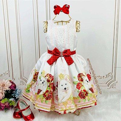 Vestido de festa infantil Petit Cherie pets cachorrinhos branco e vermelho
