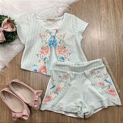 Conjunto Infantil Petit Cherie Blusa e Short Flores e Pássaros Tam 4