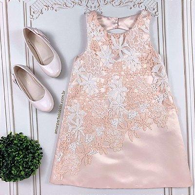 Vestido infantil de festa Petit Cherie com renda e brilho rosa claro
