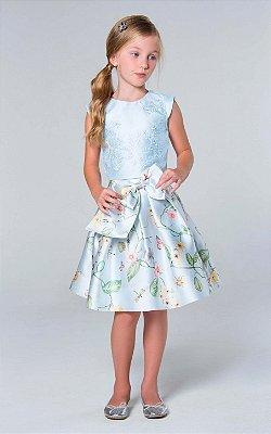 Conjunto infantil de festa Petit Cherie de saia rodada floral e cropped bordado borboletas azul claro
