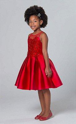Vestido de festa infantil Petit Cherie bordado com transparência vermelho arabesco com brilhos