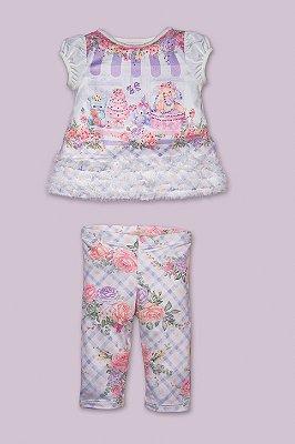 Conjunto bebê Petit Cherie blusa festa dos bichos com frufu e legging floral