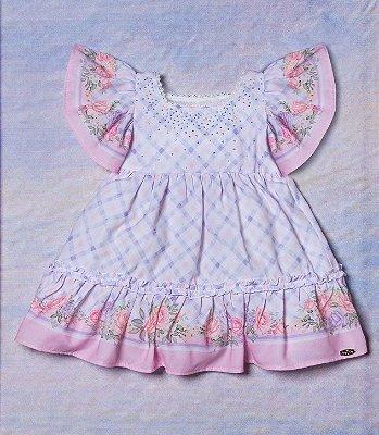 Vestido de bebê Petit Cherie xadrez com barrado floral lilás