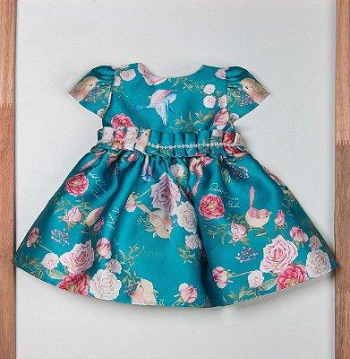 Vestido de bebê festa com pregas estapado com rosas e pássaros jardim encantado