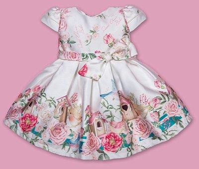 Vestido de festa bebê Petit Cherie casinha de passarinho e rosas jardim encantado