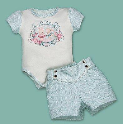Conjunto de bebê Petit Cherie body coelhinha bailarina com short alfaiataria