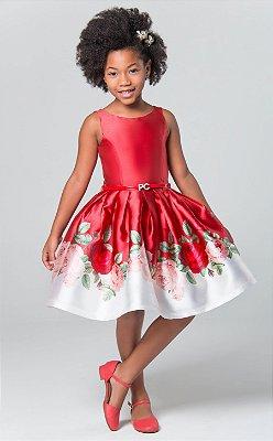 Vestido de festa infantil Petit Cherie floral com rosas e fundo vermelho