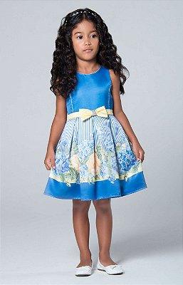 Vestido de festa infantil Petit Cherie rosas amarelas e hortênsias azuis