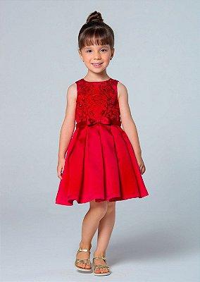 Vestido de festa infantil Petit Cherie rodado com bordado em arabesco vermelho chapeuzinho vermelho