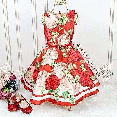 Vestido de festa infantil Petit floral vermelho luxo