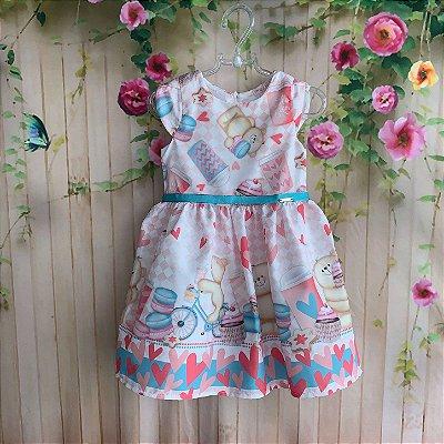 495fd67894 Vestido infantil Mon Sucré festa de ursinhos cupcake rosa