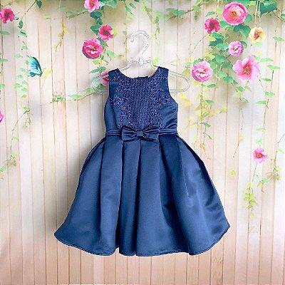 Vestido de festa infantil Petit Cherie luxo bordado com aplicação de strass marinho