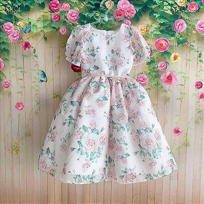 Vestido de festa infantil Petit Cherie midi floral rosa jardim encantado com manguinha de princesa
