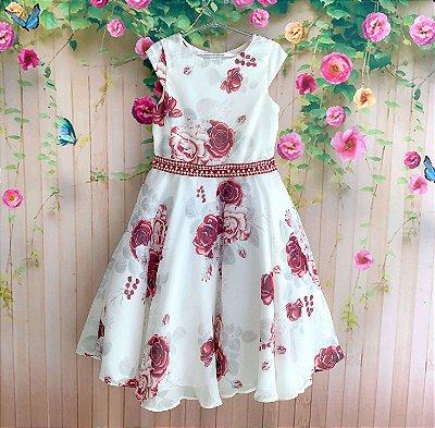 0e5557578 Vestido de festa infantil Petit Cherie middi chiffon floral com pérola off  white e vermelho