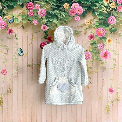 Vestido de bebê Petit Cherie casual  plush baby angel com brilho capuz de pelinho