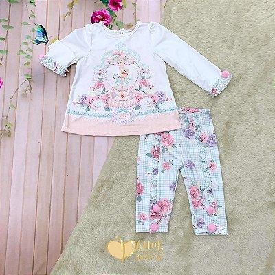 Conjunto de bebê Petit Cherie inverno blusa urso no carrossel com legging com pom pom tam M
