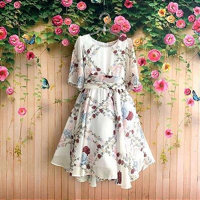 Vestido de festa infantil Petit Cherie mullet flores do campo toque de seda off white