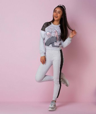 Conjunto teen Vanilla Cream menina moletom all star cinza tumblr