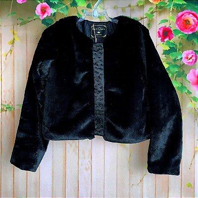 Bolero infantil Petit Cherie casaco inverno pelo sintético com pérolas preto