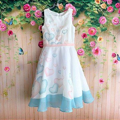 Vestido Infantil De Festa Petit Cherie Floral Toque De Seda Azul