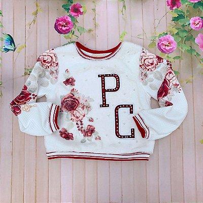 Blusa infantil Petit Cherie inverno floral de pelo com bordado e perola vermelho e off white