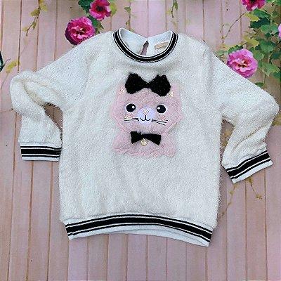 Blusa infantil Petit Cherie inverno pelinhos gatinha com pérolas off white